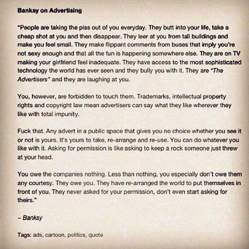 Banksy on advertising